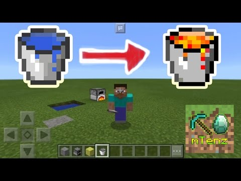 [2min Trick #3] How To change Lava to Water bucket in Minecraft PE - mTenz