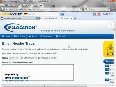 How to trace sender from Yahoo email header