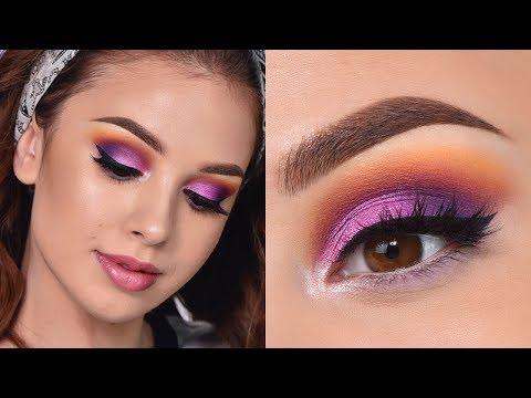 Fun Colorful Summer Makeup Tutorial | Orange , Purple and Pink Smokey Eye
