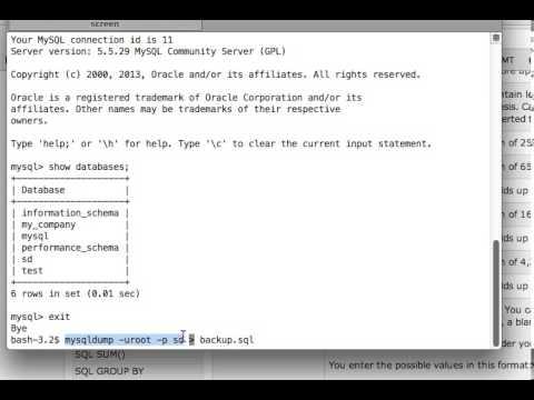 MySQL Tutorials: How to take dump/backup of a database