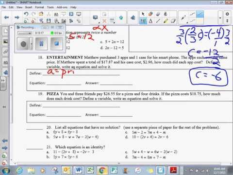 unit 3 test answers   8th Grade Math
