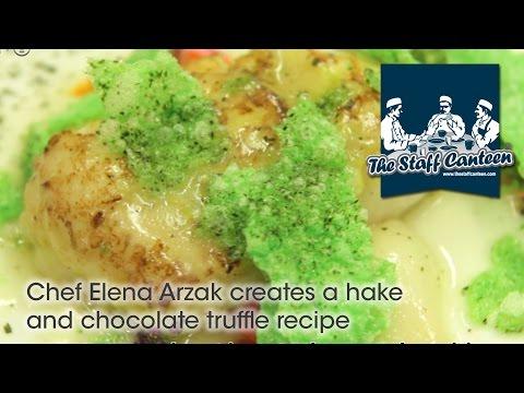 3-Michelin star Chef Elena Arzak creates a hake and chocolate truffle recipe