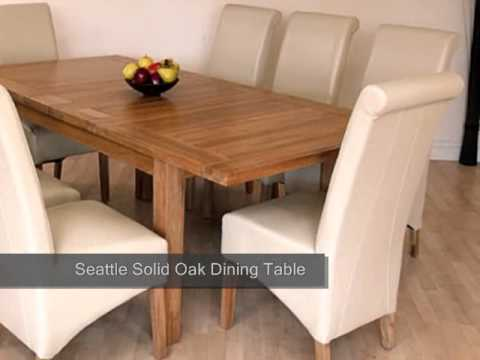 Seattle Solid Oak Dining Table & 8 Ivory Leather Chairs