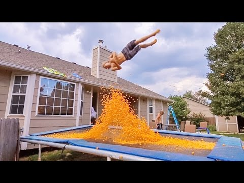 TRAMPOLINE VS 10,000 CHEESE BALLS!