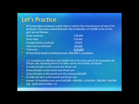 Intro to Managerial Accounting: Relevant Costs and Decision Making (Chapter 11)