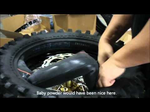 Installing dirt bike tire without scratching rims
