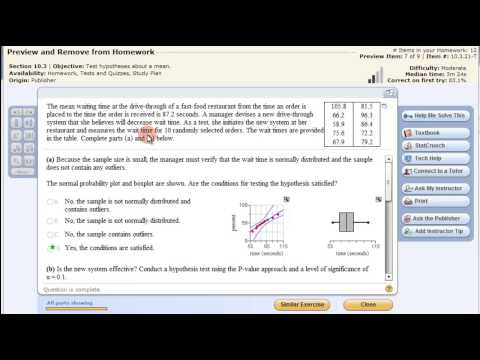 Hypothesis Testing Population Mean - StatCrunch