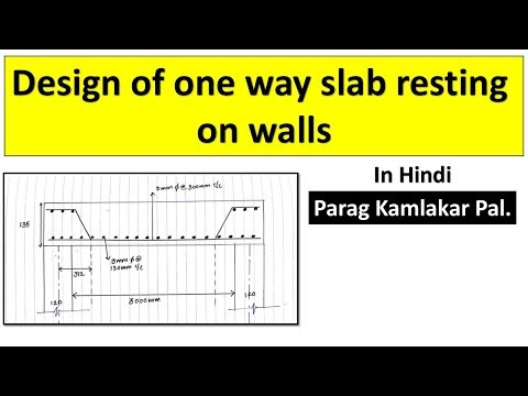 Design of one way slab resting on walls in HINDI by Parag Pal.