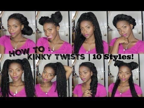 HOW TO STYLE KINKY TWISTS & BOX BRAIDS   10 EASY STYLES!