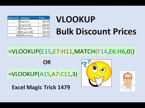 Excel Magic Trick 1479: Lookup Bulk Quantity Discount Prices Using VLOOKUP Function