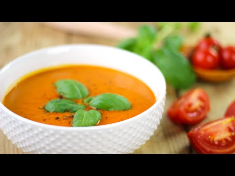 Creamy Roasted Red Pepper Tomato Soup | Healthy Vegan Recipes