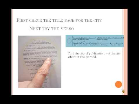 Book Citations - Filling out a bibliography worksheet