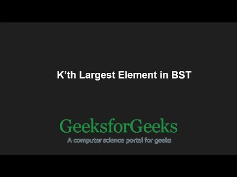 K'th Largest Element in BST when modification to BST is not allowed | GeeksforGeeks