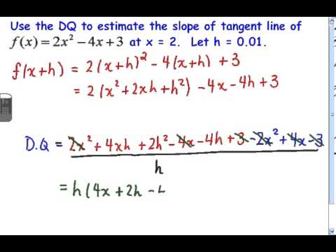 c12 3 Using a Difference Quotient to Estimate the Slope of a Tangent Line