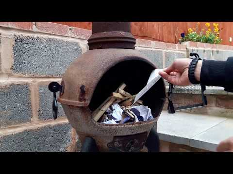 How to make a small fire in a chiminea iron burner
