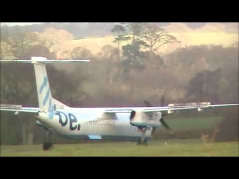 Flybe Dash 8-Q400 Taxi, Backtrack and Depart's Exeter Airport