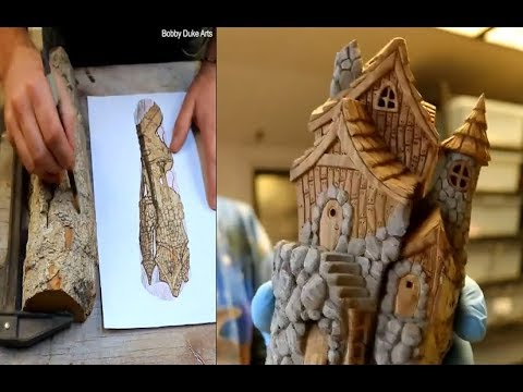 Woodworking DIY ( carving Castle )   By Bobby Duke Arts