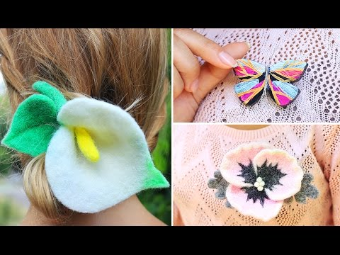 DIY Felt Flowers Accessories And Polymer Clay Butterfly Brooch