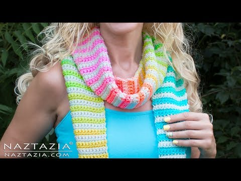 DIY Tutorial - Learn How to Crochet Alternate Stripes Scarf (Colorful Yarn Color Changes)