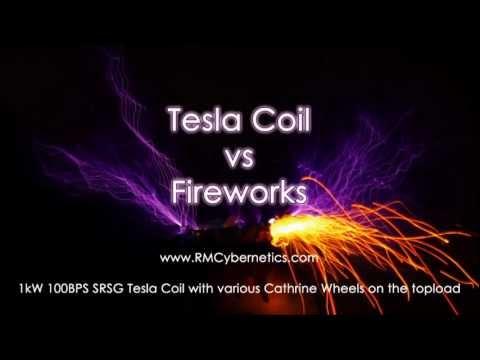 Tesla Coil vs Fireworks