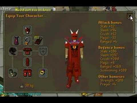 Red mask and dragon armour