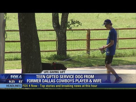 Teen gifted service dog from former Cowboys star