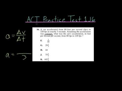 ACT Practice Test 1.16: Acceleration