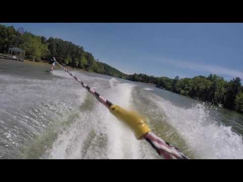 Wakeboarding behind Seadoo Wake Pro 215