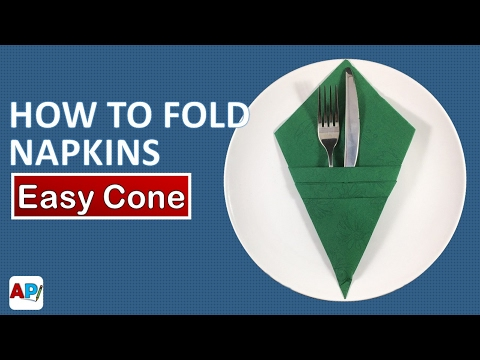 How to fold a paper  Napkin - Easy Cone | Napkin Folding