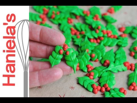 ROYAL ICING HOLLY LEAVES, HANIELA'S