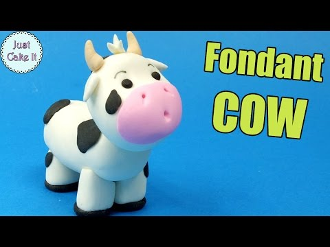 How to make Fondant COW cake topper tutorial