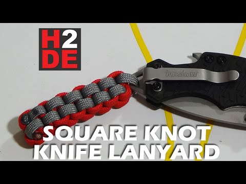 TUTORIAL - Paracord Square Knot Knife Lanyard square weave box knot how to