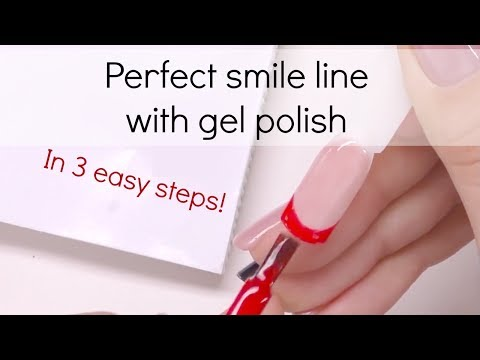 How to: Create perfect smile line with gel polish   French manicure tutorial