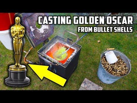 Casting 'Golden' Oscar Award Trophy in Brass from Empty Bullet Shells