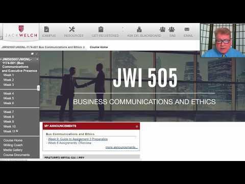 JWI 505: Business Communications Week 9