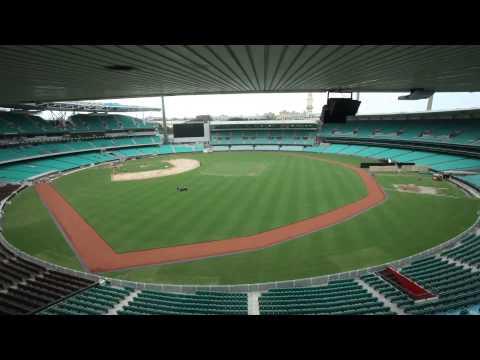 Sydney Cricket Ground transformation to baseball field - time lapse