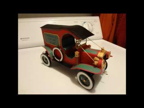 Cardboard Ford Model T battery operated with lights.