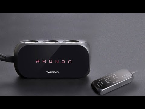 RHUNDO RS-20 3-WAY CAR CIGARETTE LIGHTER SPLITTER + 2 USB  + REMOTE TOUCH SENSOR SWITCH PANEL