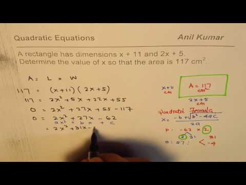 Find dimensions of a rectangle with area of 117