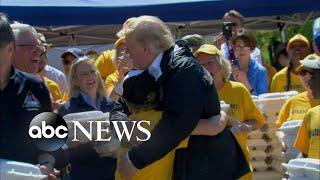 Boy asks for hug and Trump delivers