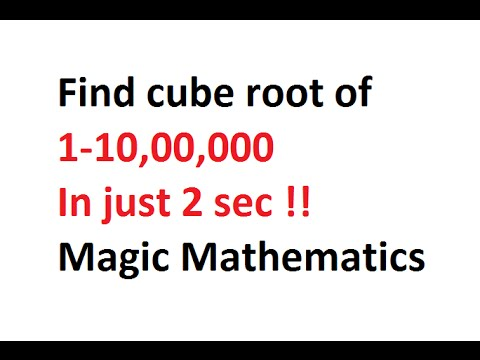 how to find cube root-Vedic Mathematics !!