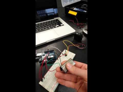 Flex sensor controlling servo motor