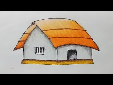 How to draw a hut/house.Step by step(easy draw)