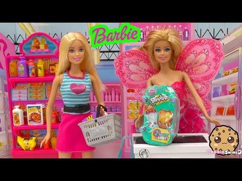 Barbie Doll Grocery Store Market Playset + Shopkins Season 3 Blind Bag Toy Unboxing Cookieswirlc