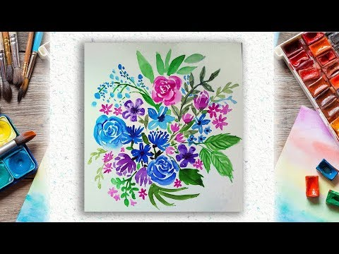 Easy Loose Watercolor Floral Painting For Beginners