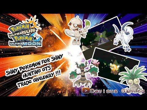Pokemon Ultra Sun and Moon Live GTS Trades Shiny Pokemon for Shiny Hunting! Movesets in Description