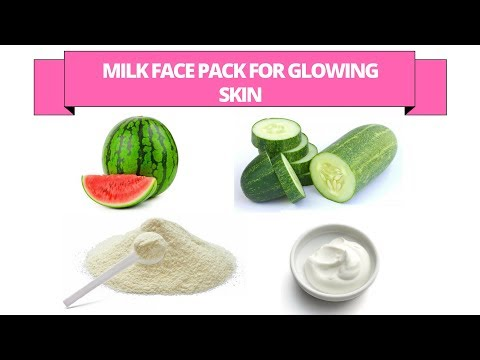 Homemade milk face pack for glowing skin - Milk powder, curd, watermelon face pack