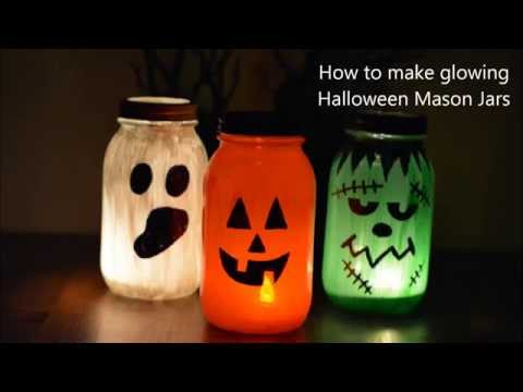 How to Make Painted Glowing Mason Jars for Halloween