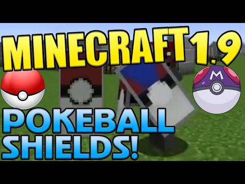 Minecraft 1.9 Gameplay and Guides || How To Make Pokeball Shield Designs in Minecraft