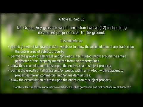 Know Your Parish: High Grass Restrictions